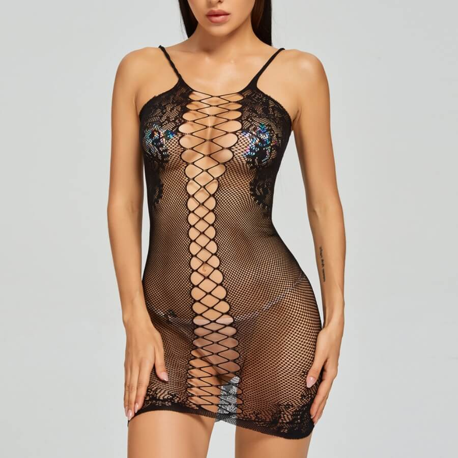 Lovely Sexy Hollow-out See-through Black Bodystock
