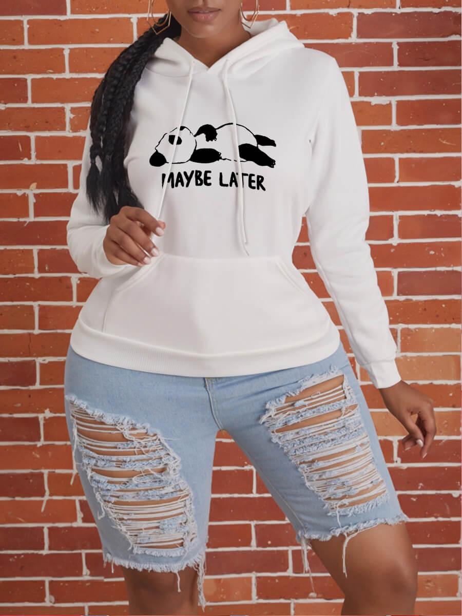 Lovely Casual Hooded Collar Letter Print White Hoo