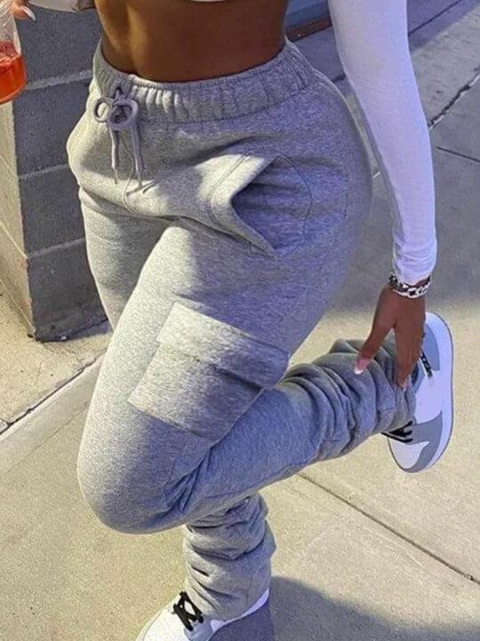Lovely Casual Side Pocket Drawstring Grey Plus Siz