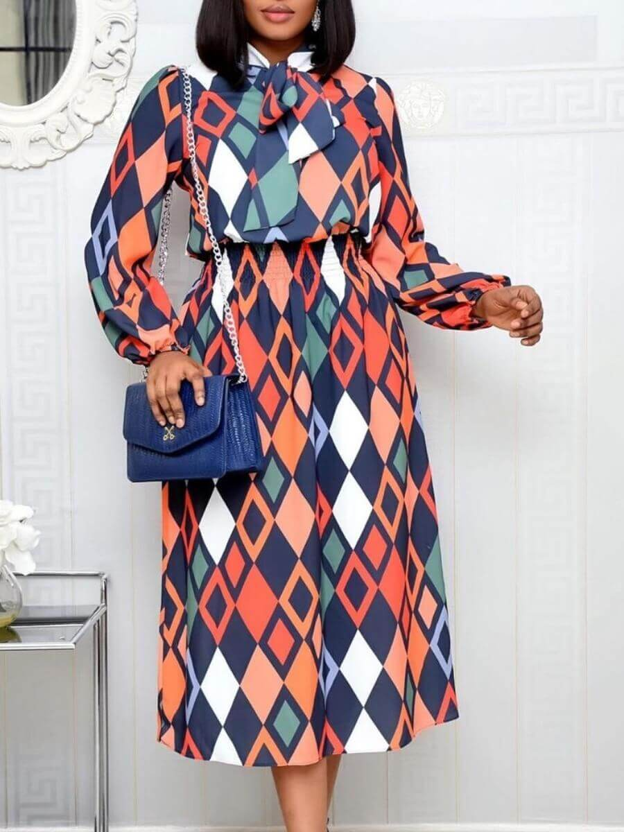 Lovely Formal Geometric Print Knot Design Pink Mid