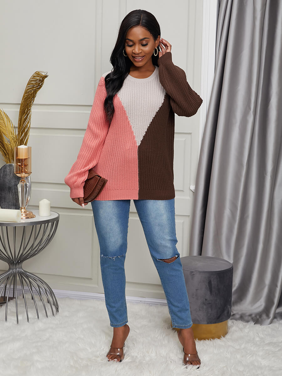 Lovely Casual O Neck Color-lump Patchwork Pink Swe