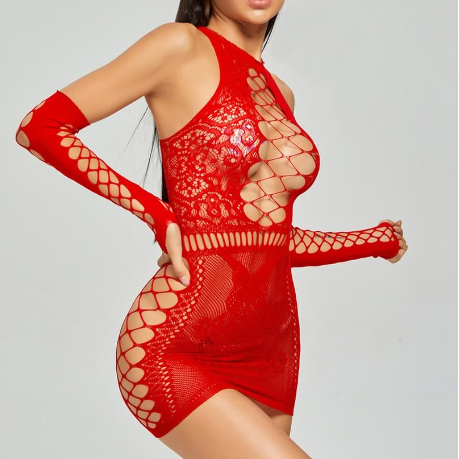 Lovely Sexy Hollow-out Red Babydolls