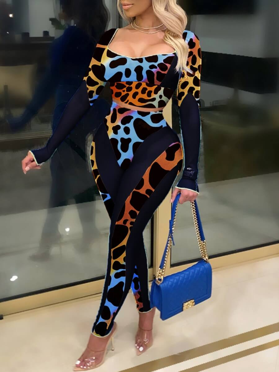 Lovely Casual Leopard Print Multicolor Two Piece P