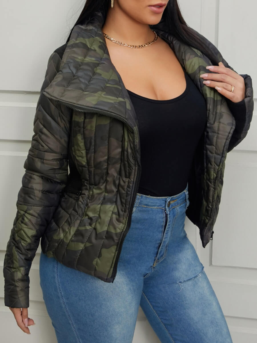 Lovely Casual Camo Army Green Coat