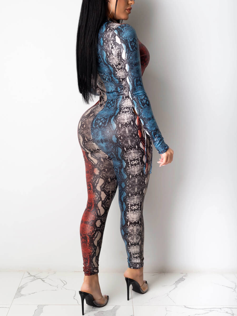 Lovely Sexy Snakeskin Print Bandage Design One-pie