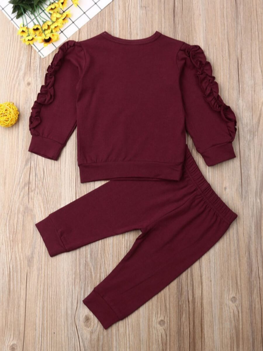 Lovely Casual Flounce PatchworkWine Red Girls Two-