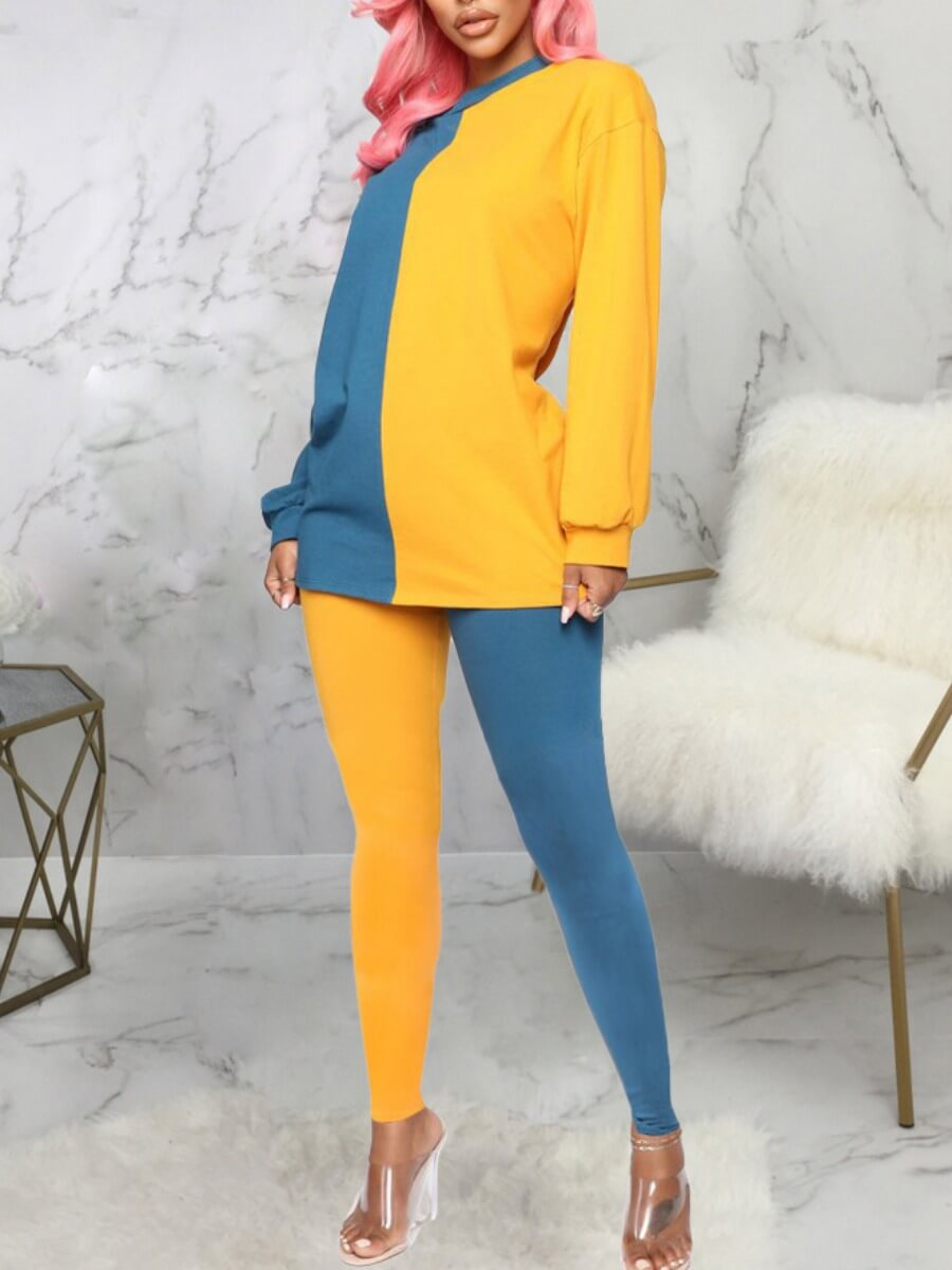Lovely Casual O Neck Patchwork Yellow Sleepwear