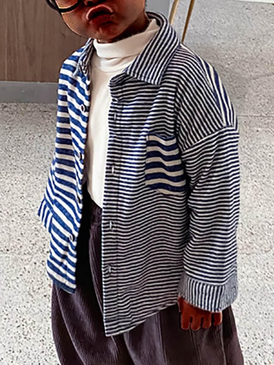 Lovely Casual Striped Patchwork Pocket Design Blue