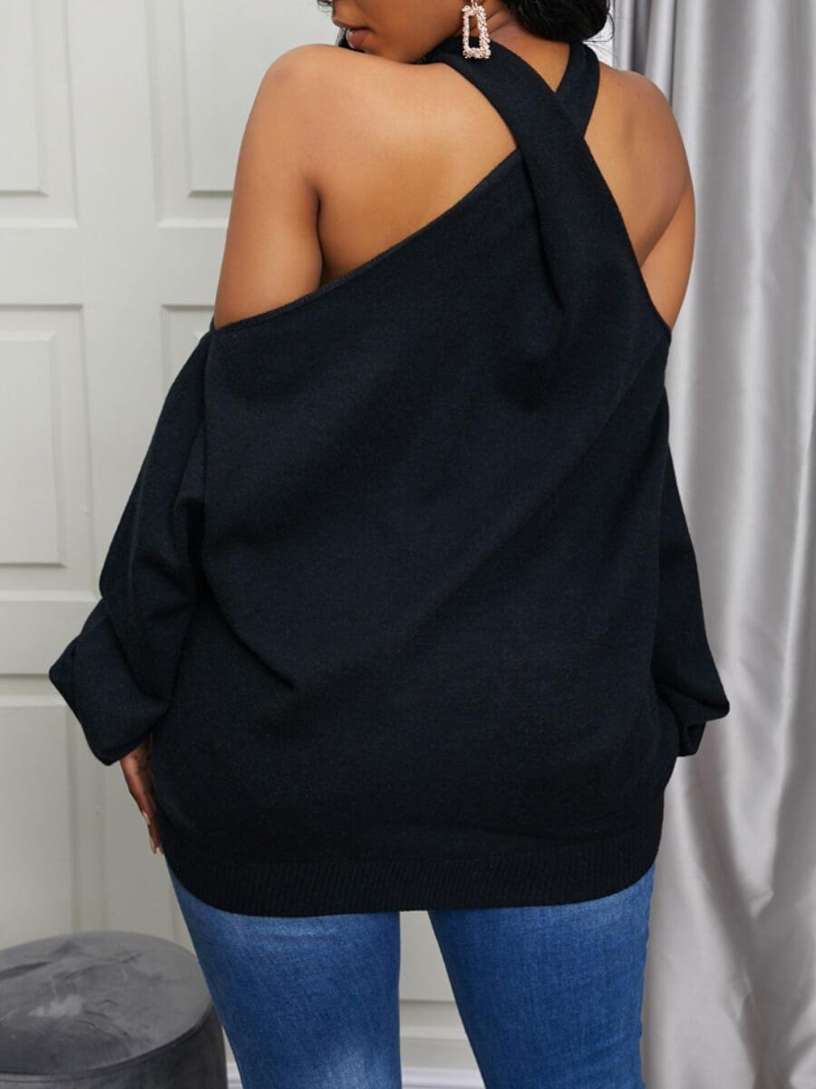Lovely Cross-over Design Black Sweater