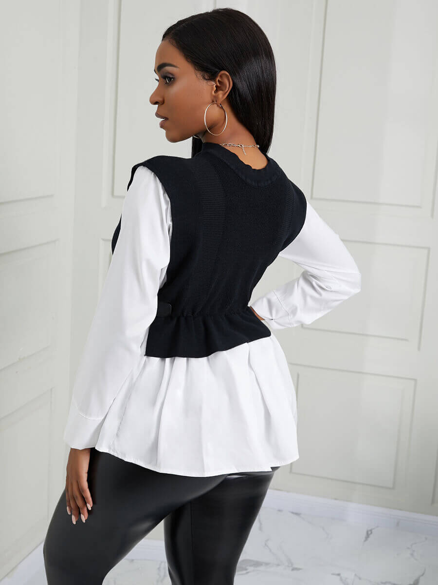 Lovely Casual Patchwork Drawstring White Sweater