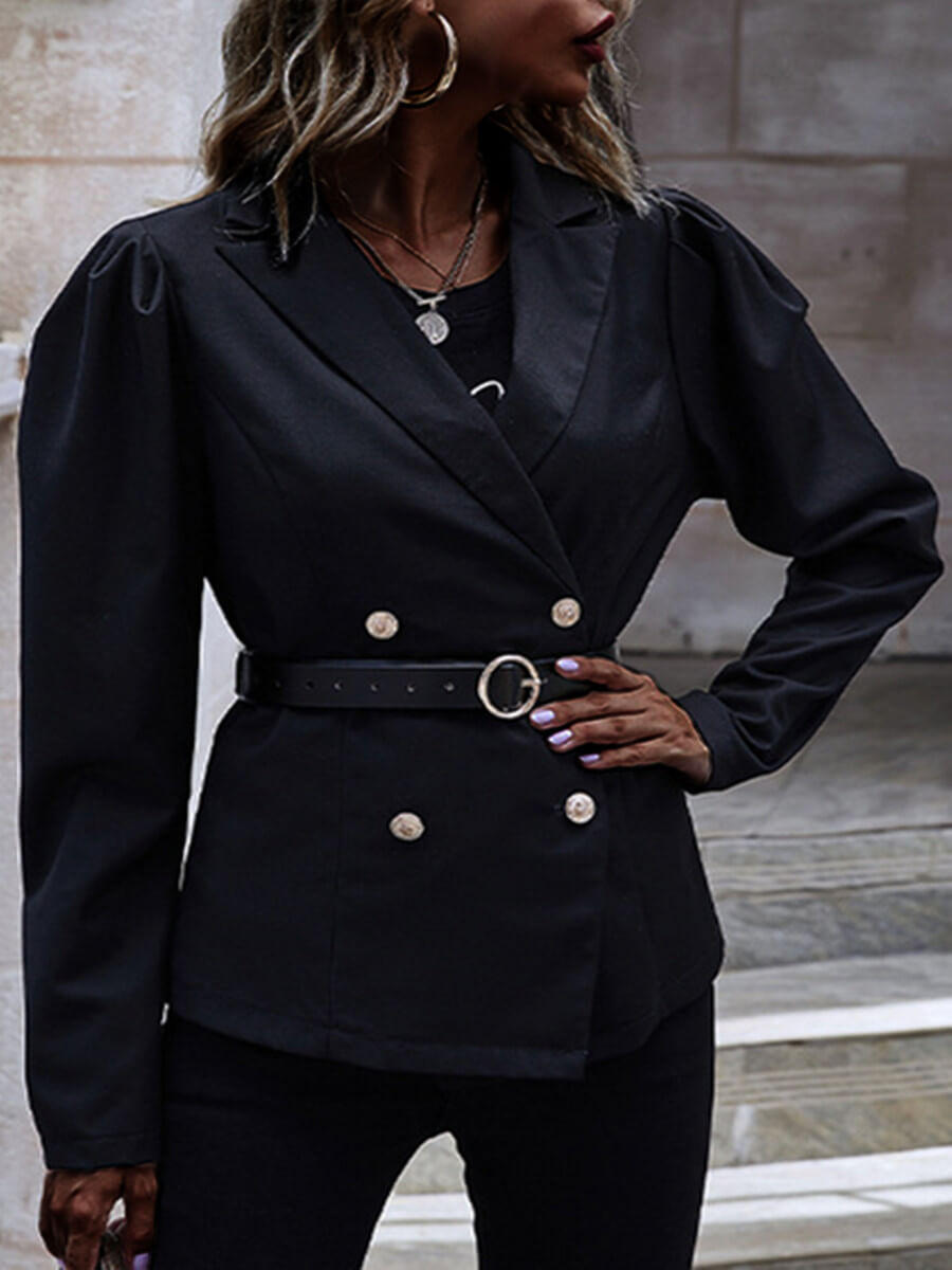 Lovely Casual Turndown Collar Double Breasted Blac