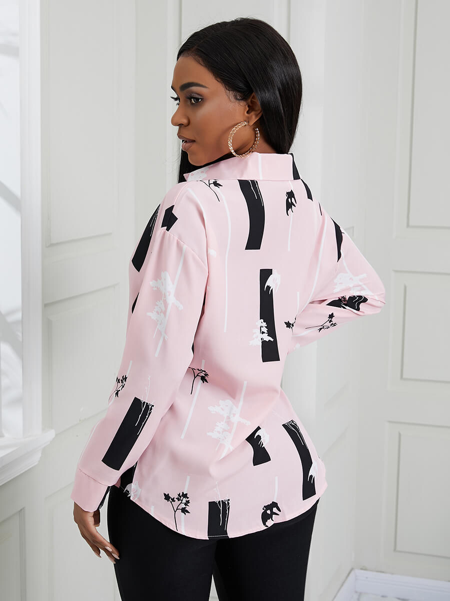 Lovely Formal Floral Print Patchwork Pink Blouse