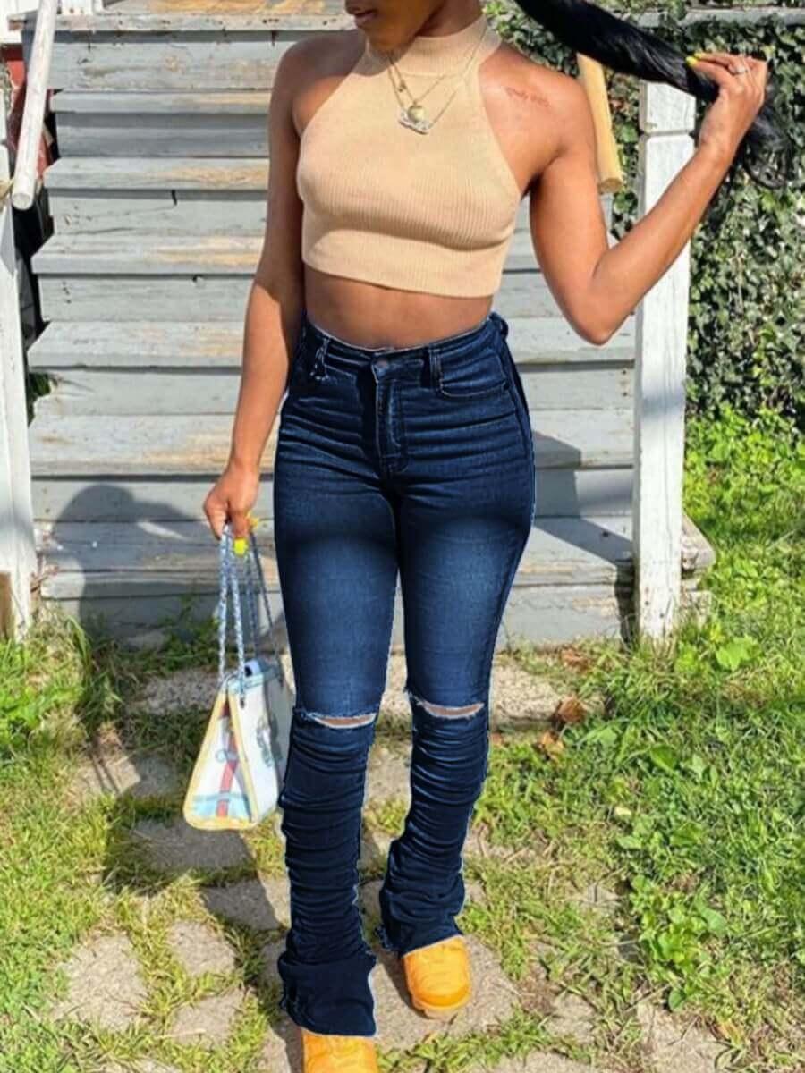 Lovely Street Flared Broken Holes Deep Blue Jeans