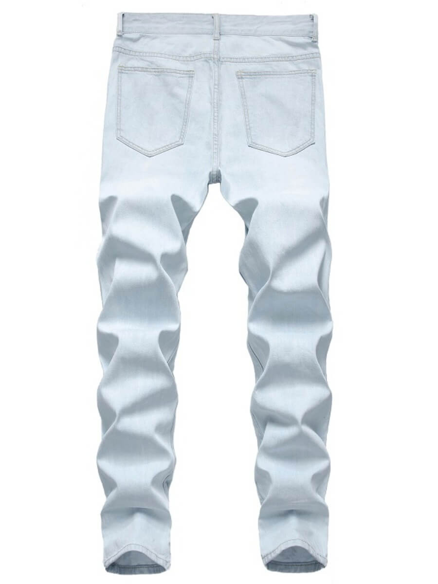 Lovely Men Casual Broken Holes Striped Patchwork Baby Blue Jeans