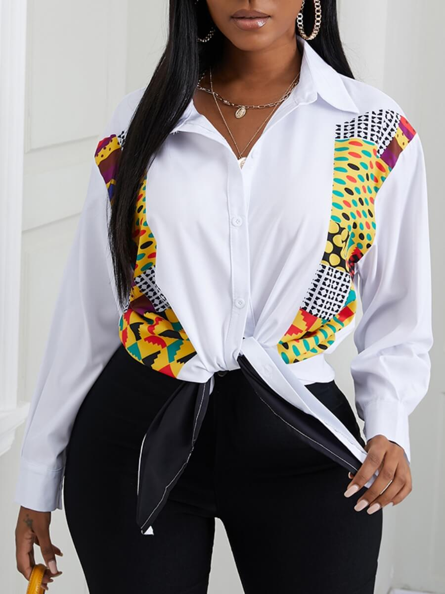 Lovely Formal Geometric Print Patchwork White Blou