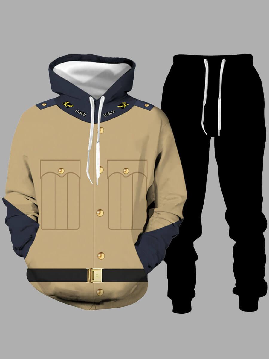 LW Men Casual Color-lump Patchwork Drawstring Black Two Piece Pants Set