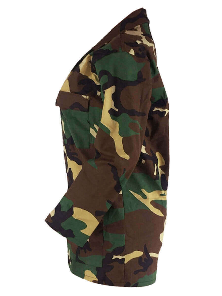 Lovely Casual Turndown Collar Camo Print Patchwork