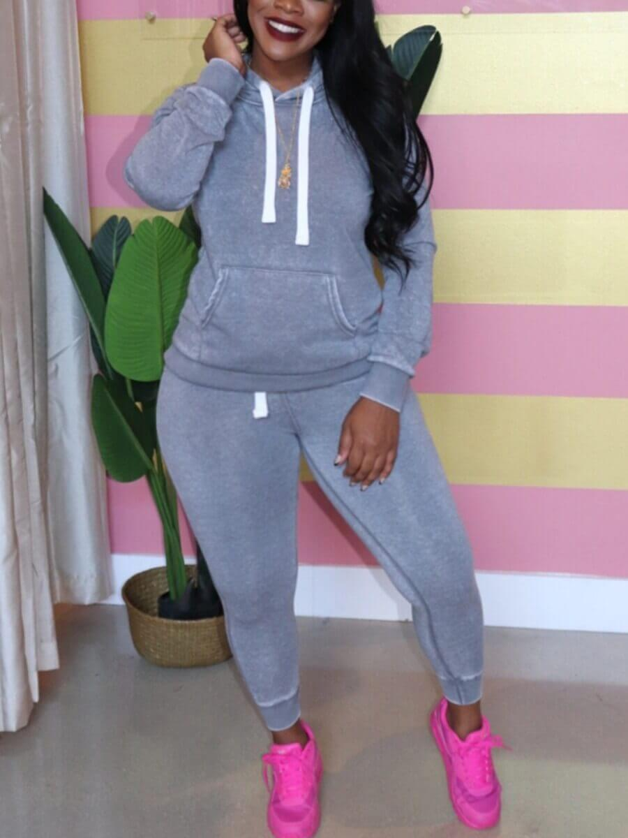 LW BASICS Plus Size Casual Hooded Collar Drawstring Design Grey Two-piece Pants Set