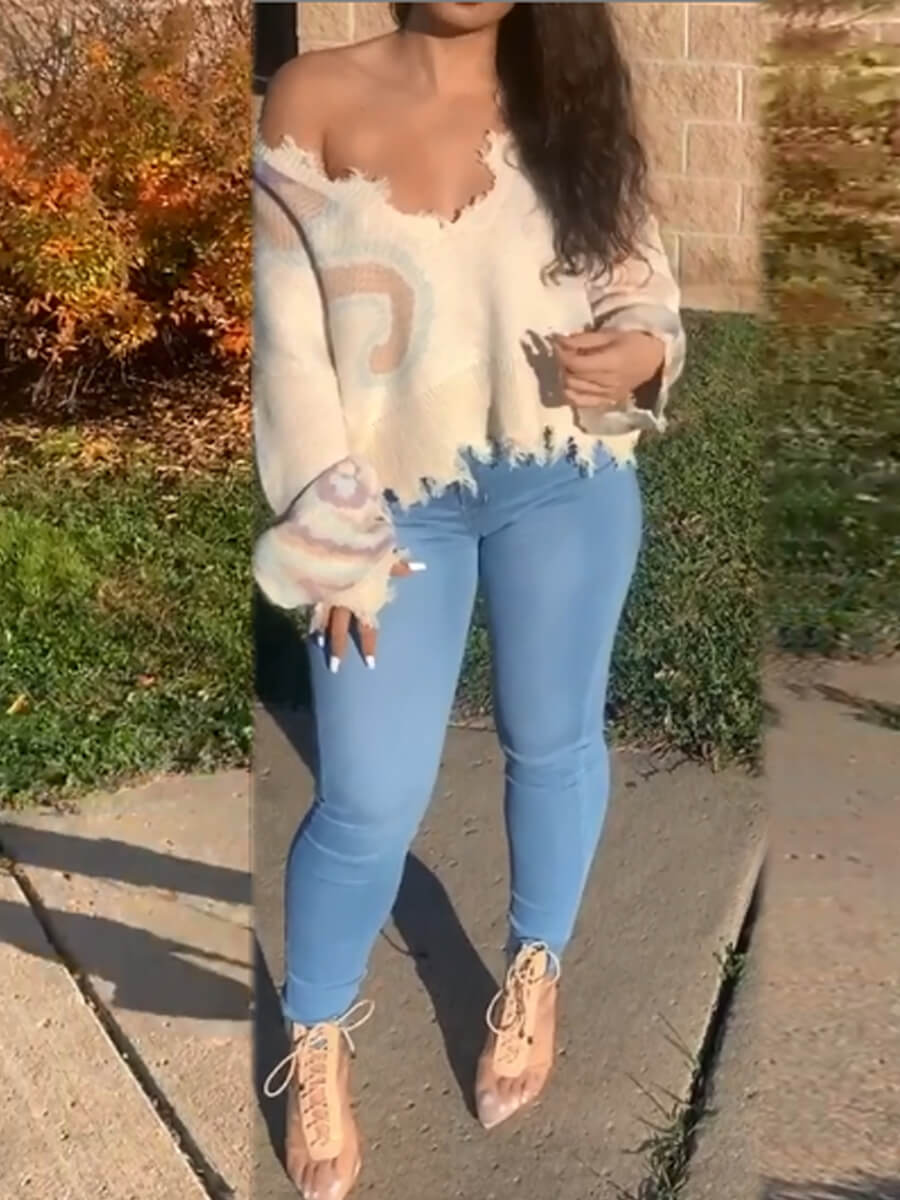 Lovely Trendy High-waisted Elastic Baby Blue Jeans