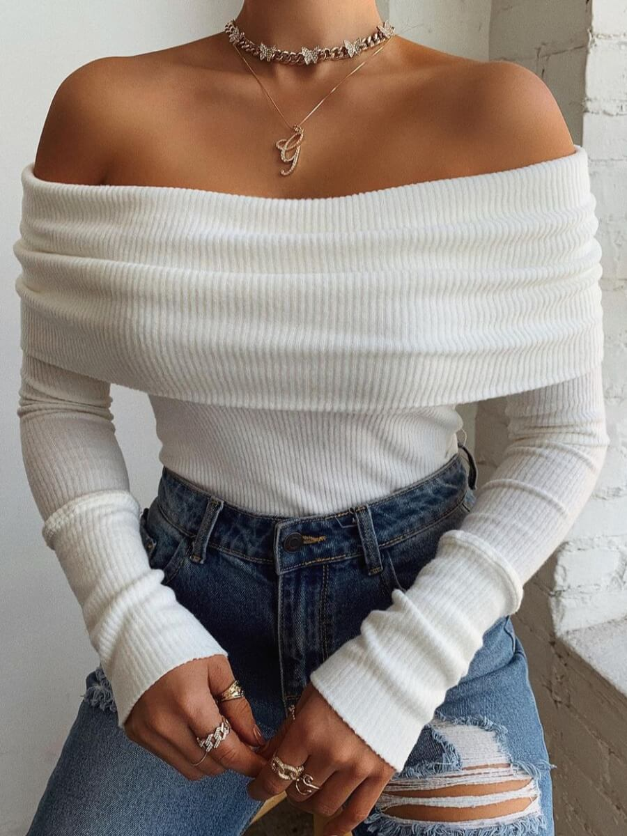 Lovely Casual Off The Shoulder Long Sleeve White S