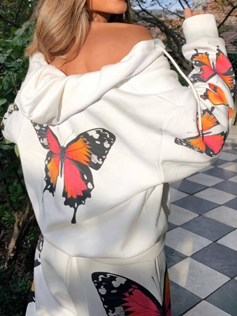 Lovely Casual Hooded Collar Butterfly Print White