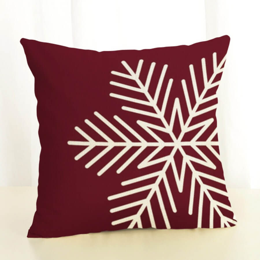 Lovely Snowflake Print Wine Red Decorative Pillow