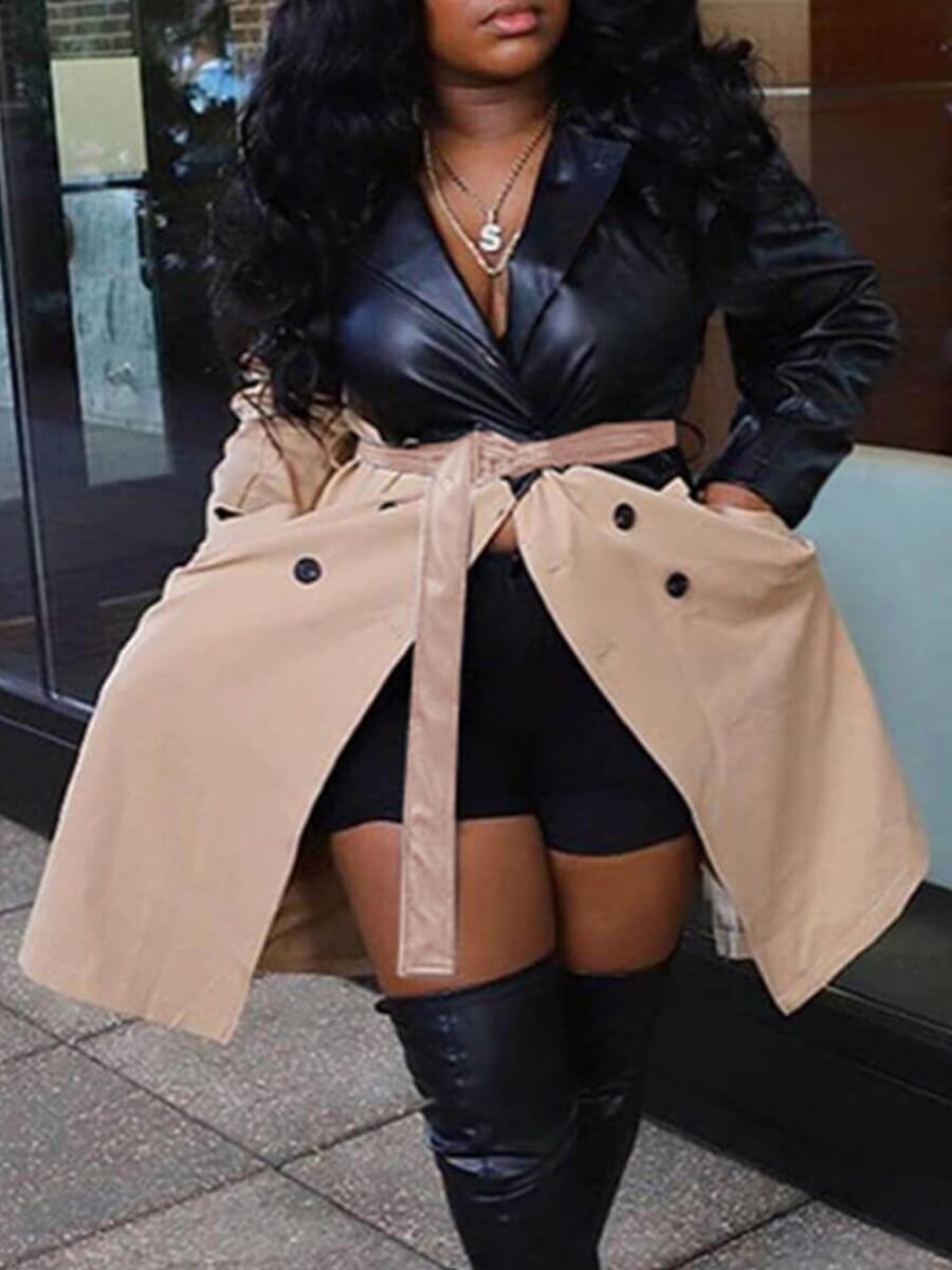 LW BASICS Plus Size Street Turndown Collar Patchwork Button Design Black Leather