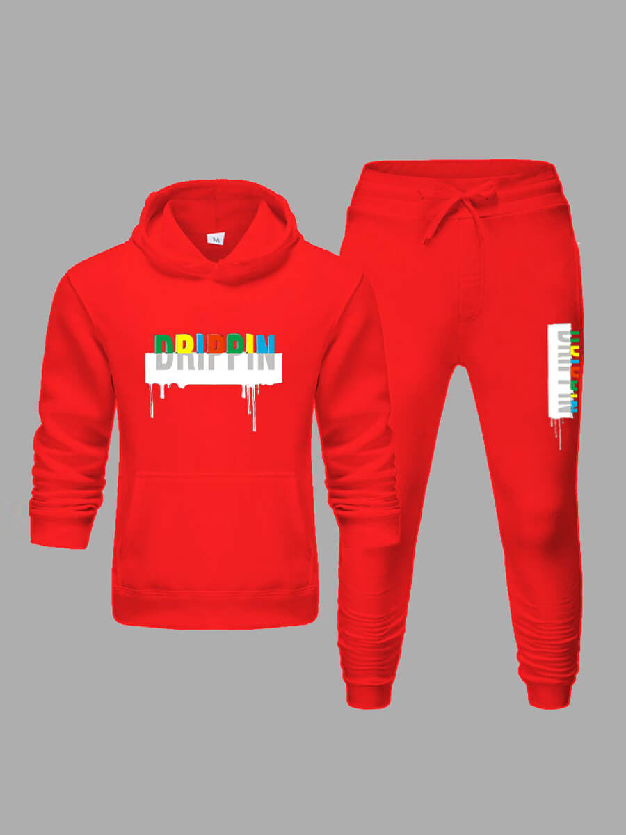 Lovely Men Casual Hooded Collar Letter Print Red Two-piece Pants Set