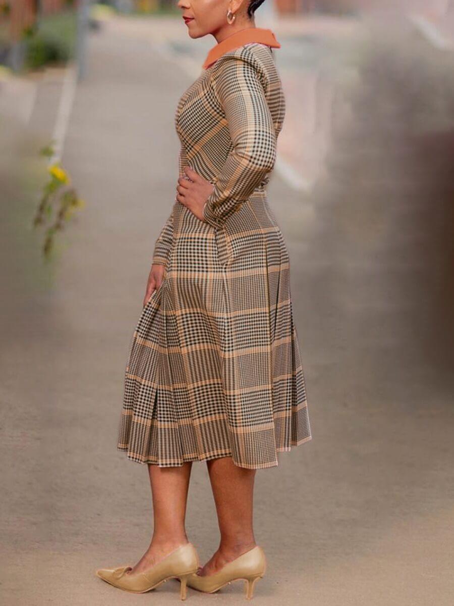 Lovely Stylish Turndown Collar Plaid Print Brown Knee Length Dress