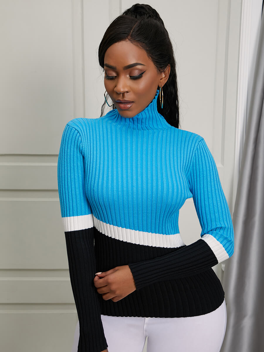 Lovely Casual Turtleneck Color-lump Stitching Deep