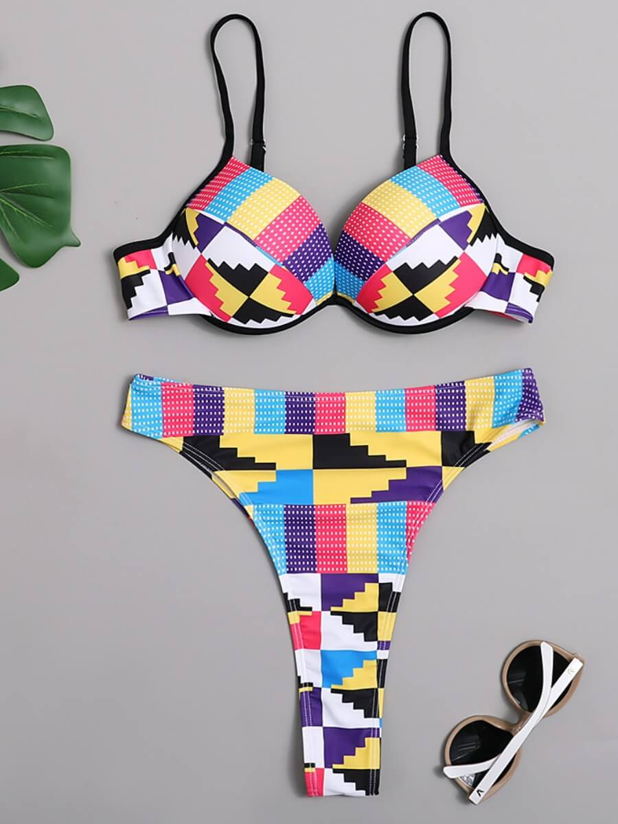 Lovely Trendy Geometric Print Patchwork Multicolor