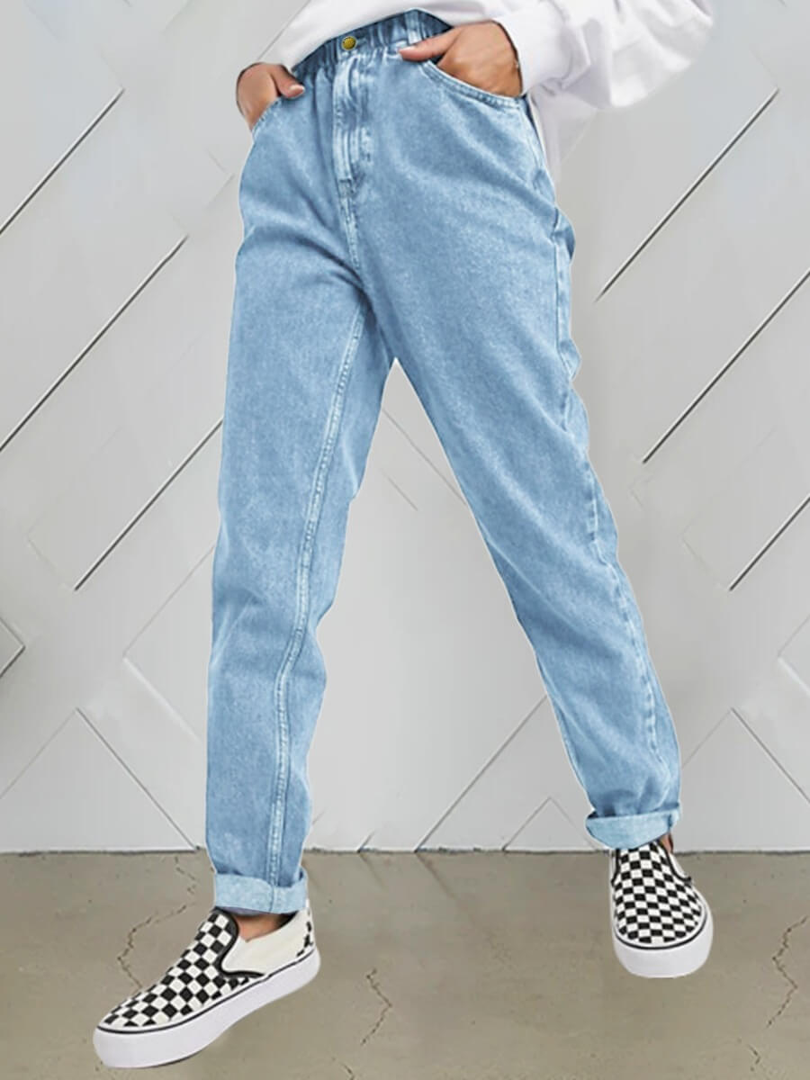Lovely Casual High-waisted Elastic Baby Blue Jeans