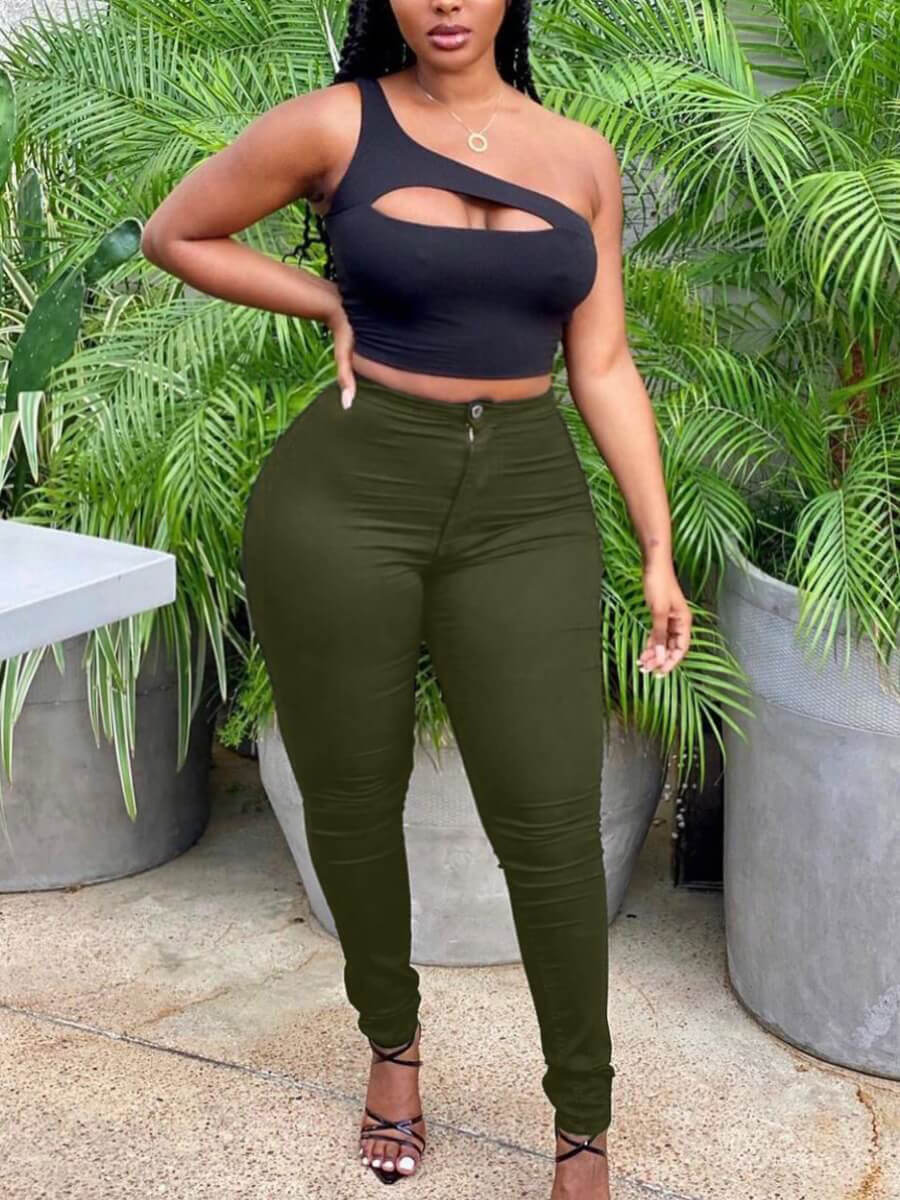 Lovely Casual Mid Waist Zipper Design Green Plus S