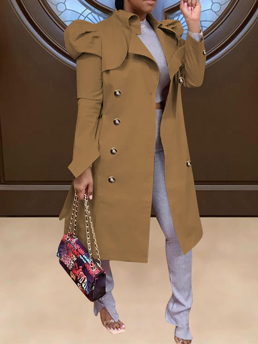 LW Trendy Button Design Coffee Trench Coat