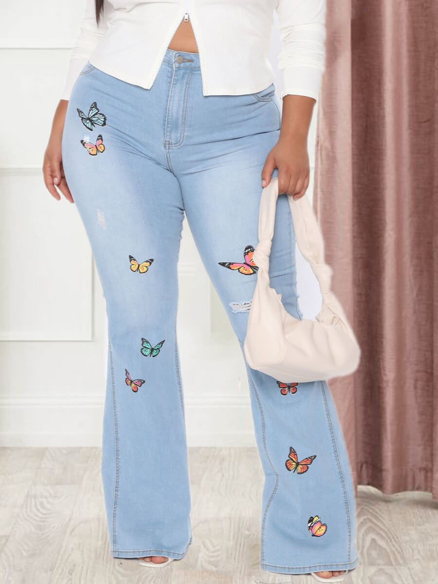 Lovely Casual High-waisted Butterfly Print Baby Bl