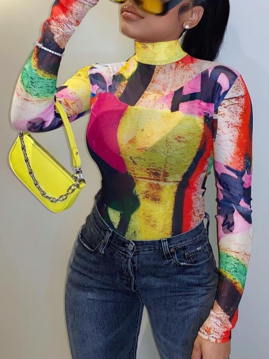 LW Street Turtleneck Color-lump Print Multicolor T-shirt