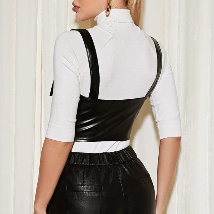 Lovely Casual Zipper Design Black Bustiers