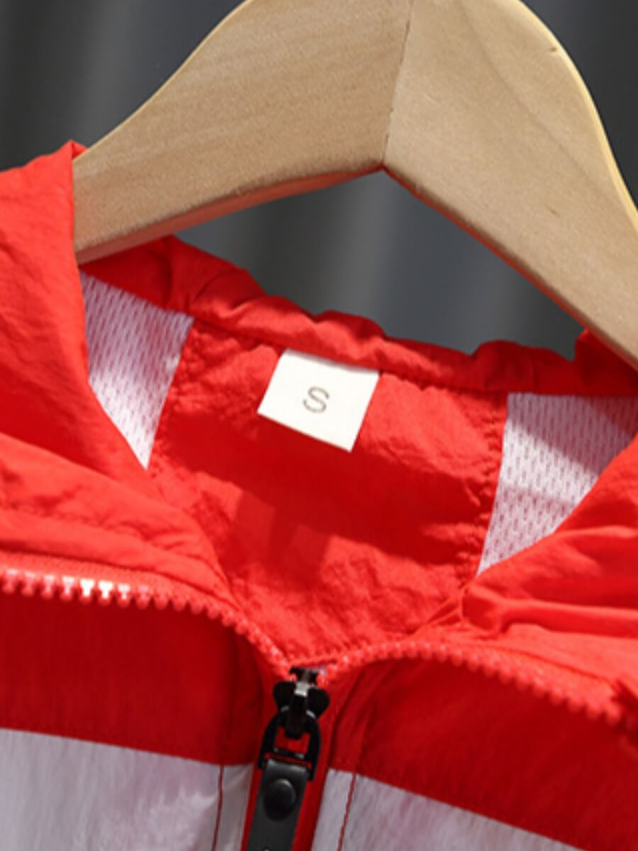 Lovely Sportswear Hooded Collar Patchwork Red Boy