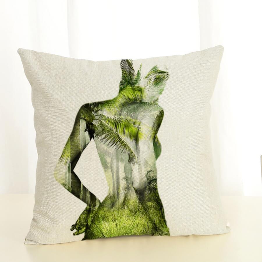 Lovely Print Green Decorative Pillow Case