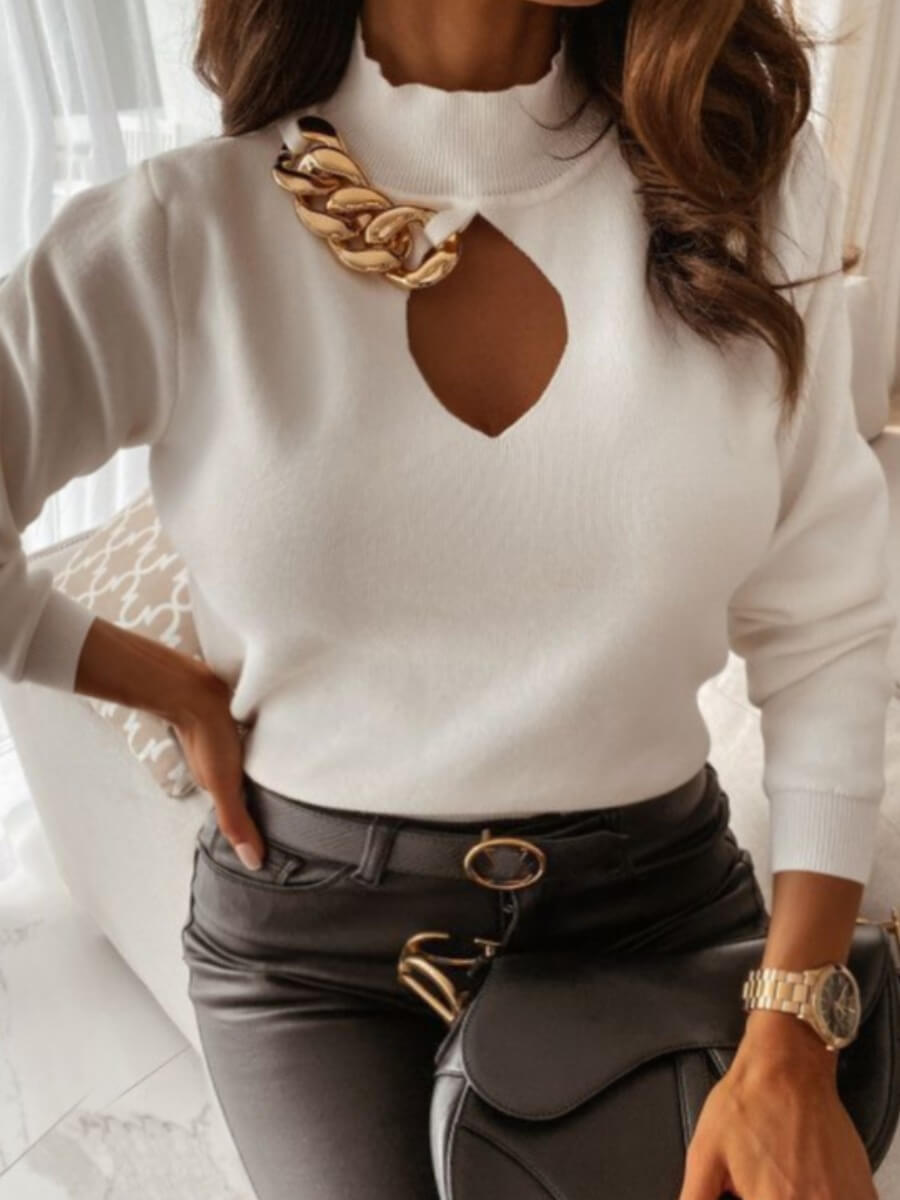 Lovely Chic Turtleneck Hollow-out White Sweater