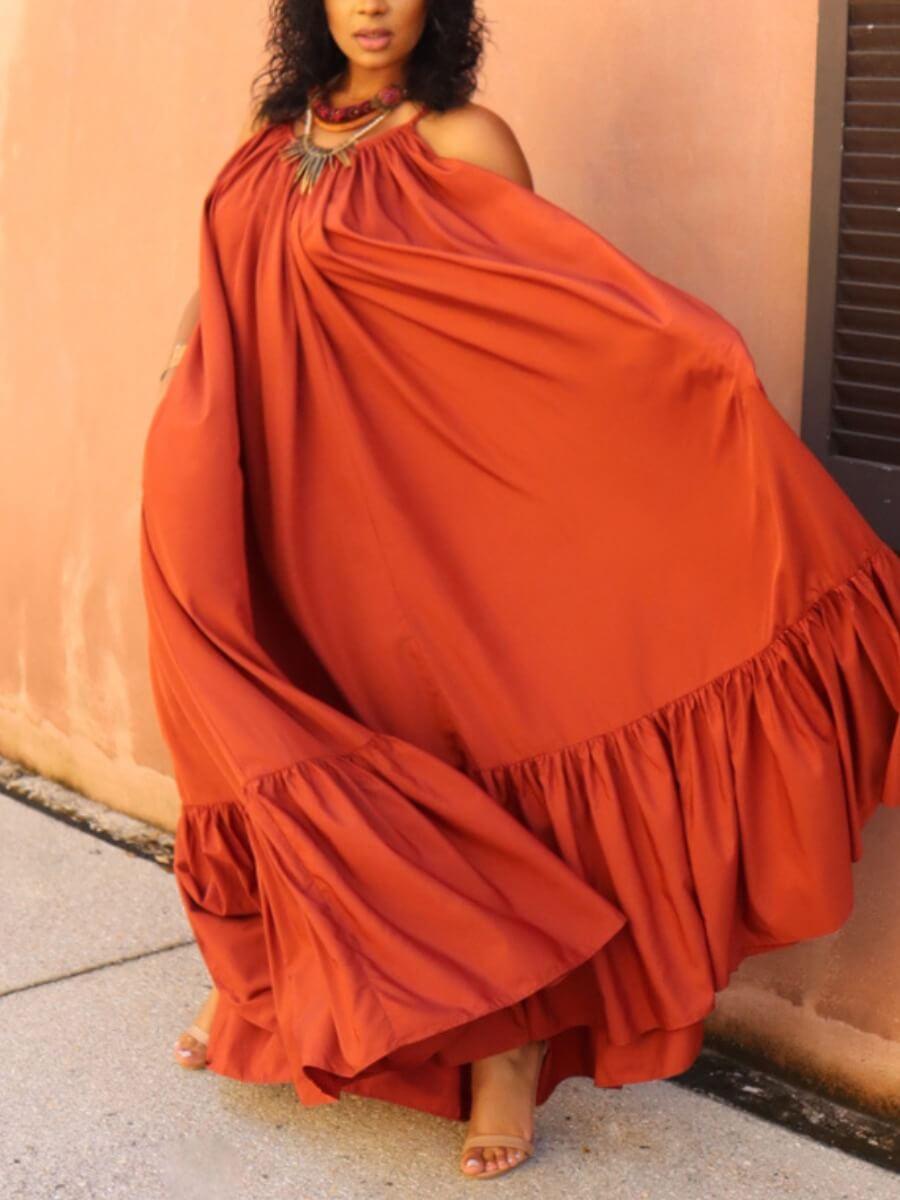 LW BASICS Plus Size Casual Pocket Fold Design Loose Brown Floor Length A Line Dress
