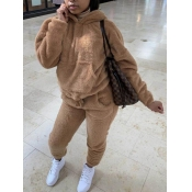 Lovely Casual Hooded Collar Basic Caramel Color Tw