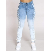 Lovely Street Gradient Bandage Design Blue Jeans