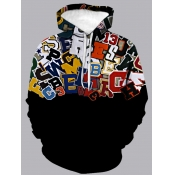 Lovely Street Hooded Collar Letter Print Patchwork