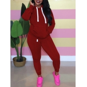 Lovely Casual Hooded Collar Kangaroo Pocket Wine Red Two Piece Pants Set