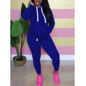 Lovely Casual Hooded Collar Kangaroo Pocket Blue Two Piece Pants Set
