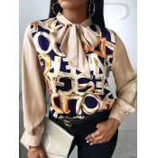 Lovely Fashion Ribbon Collar Letter Print Brown Bl