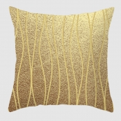 Lovely Geometric Print Gold Decorative Pillow Case