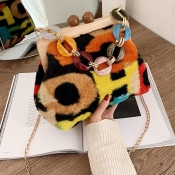 Lovely Trendy Chain Strap Print Multicolor Messenger Bag