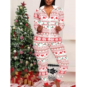 Lovely Casual Hooded Collar Christmas Day Print Wh